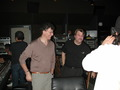 Director Jon Amiel and Composer Christopher Young talk to the cameras at the scoring session for <i>The Core</i>.