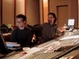 Steve Kaplan and Bear McCreary listen to a cue
