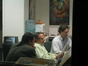 Orchestrator Jeff Atmajian and Marc Shaiman examine a cue