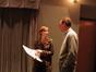 Music librarians/copyists Jennifer Hammond and Marshall Bowen