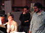 Music copyist Jennifer Hammond makes notations to the score as director J.J. Abrams listenins to Michael Giacchino's changes