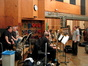 Danny Elfman gives notes to the brass section (Trumpet Section: Rick Baptist, Malcolm McNab and Jon Lewis / Trombone Section: Alex Iles, Charlie Loper, Bill Reichenbach and Phil Teele / Tuba: Toug Tornquist)
