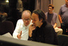 Orchestrator Conrad Pope, composer Alexandre Desplat, and assistant orchestrator Phillip Klein