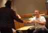 Composer Alexandre Desplat greets director David Fincher