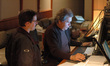 Score Mixer Bobby Fernandez and Warner Brothers Engineer Ryan Robinson prepare for a take