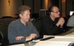Karim Elmahmoudi (additional music and co-orchestrator) and Conrad Pope evaluate a take during the <i>David and Fatima</i> recording session