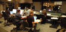 Paul Haslinger and his music team in the control room