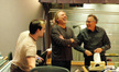Adam Michalak, composer Mark Mancina and Chris Montan share a laugh