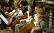 The City of Prague Philharmonic Orchestra string section