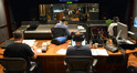 The view from the booth with composer Chris Tilton, scoring mixer Dan Wallin, and music editor Paul Apelgren