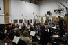 recording some very special orchestra effect sounds - notice the position of the violins!