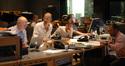 Music editor Tom Drescher, composer Theodore Shapiro and his scoring assistant, ProTools recordist Bryan Carrigan and scoring mixer Chris Fogel