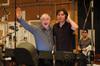 Patrick Doyle mugs for the camera with James Shearman