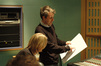 Harry Gregson-Williams discusses a cue with director Andrew Adamson