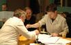 Scoring mixer Peter Cobbin, director Andrew Adamson and Stephen Barton