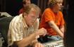 Scoring mixer Jeff Vaughn and stage engineer Charlie Pakaari