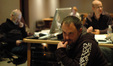 Scoring engineer Chris Fogel contemplates the mixing board