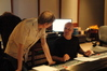 Composer Douglas Pipes with scoring mixer Brad Haehnel