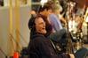 Saxophonist Dan Higgins laughs at a joke during the scoring session