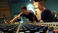 Stage engineer Lewis Jones and scoring mixer Casey Stone