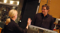 Orchestra contractor Sandra Kipp talks with scoring mixer Alan Meyerson