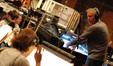 John Debney talks with concertmaster Belinda Broughton
