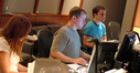 Scoring intern Sunna Wehrmeijer, ProTools recordist Kevin Globerman and scoring assistant Nathan Whitehead