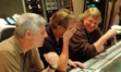 Orchestrator Dave Metzger, composer Mark Mancina and scoring mixer Steve Kempster share a laugh