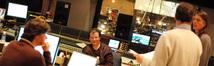 Music editor Robbie Boyd, composer Trevor Rabin, choir conductor Marshall Bowen and score producer Paul Linford