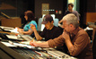 Orchestrator Penka Kenouva, composer Steve Jablonsky, scoring mixer Jeff Biggers and orchestration intern Phil Klein
