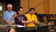 Director J.J. Abrams, conductor Tim Simonec and composer Michael Giacchino thank the orchestra
