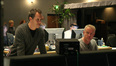 Director Brian Robbins and composer John Debney listen back to a cue