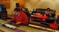 Alan Meyerson mixes the score at Remote Control with assistant engineer Katia Lewin