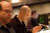 Orchestrator Randy Kerber, composer Theodore Shapiro and ProTools recordist Bryan Carrigan