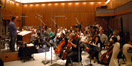Garry Schyman conducts the string section