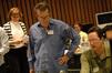 Concertmaster Belinda Broughton, composer Garry Schyman and scoring mixer Dan Blessinger