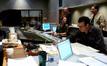Assistant engineer Steve Felix, scoring engineer Dan Blessinger (seated), audio director Michael Kamper (standing), composer Garry Schyman and contractor/copyist Ross DeRoche