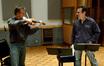Violin soloist Martin Chalifour plays for composer Garry Schyman