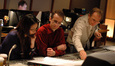 Orchestrators Dana Niu and Andrew Kinney with scoring mixer Jeff Vaughn