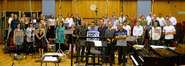 The <i>Dante's Inferno</i> music team with the Metro Voices at Abbey Road