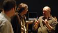 Arranger Tom Gire and composer Heitor Pereira talk with co-director Chris Renaud