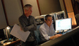 Composer Blake Neely with scoring mixer Joel Iwataki