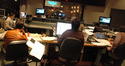The control room during the string session