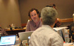 Music editor Steve Durkee talks with scoring mixer Jeff Biggers