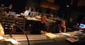 John Debney and scoring mixer Shawn Murphy in the control room
