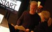 Composer John Debney talks with orchestra contractor Sandra Kipp