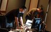 Music scoring engineer Jamie Luker and stage engineer Ryan Robinson