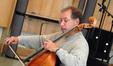Steve Erdody recording a cello solo