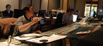 Composer Nathan Wang, music editor Brent Brooks and scoring mixer Joel Iwataki