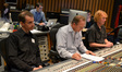 Front: orchestrator Andrew Kinney, scoring mixer Jeff Vaughn, stage recordist Charlie Pakaari; rear: ____, music editor Todd Bozung, and digital score recordist Larry Mah